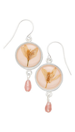 Shari Dixon Veronica Pale Pink Round Earrings w/ Drop