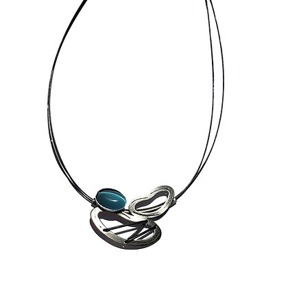 Leather Accented Poly Necklace