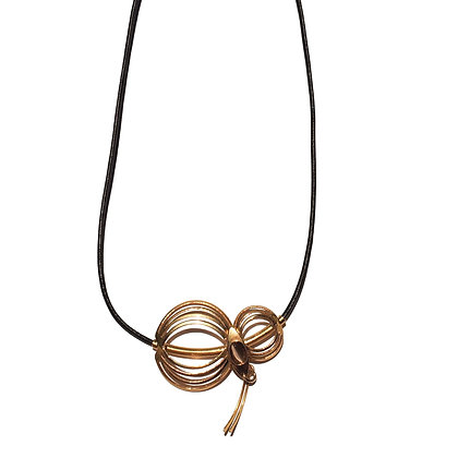 Gold Accented Poly Leather Necklace