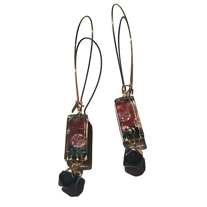 Dichroic Glass Earrings with Geometric Stones