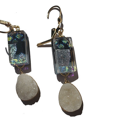 Dichroic Glass Earrings with Crystal Quartz Druzy