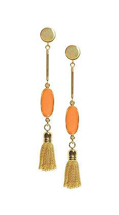 Shari Dixon Nectarine Oval Stud Tassel Earring