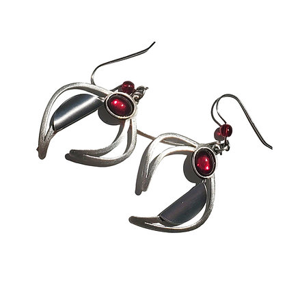 Poly Earrings with Cherry Red Accent