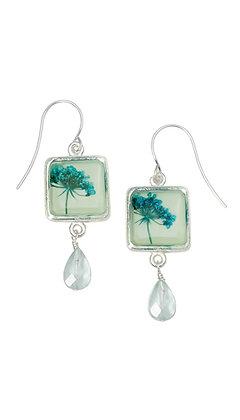 Shari Dixon Turquoise QA Seafoam Sq Earrings w/ Drop