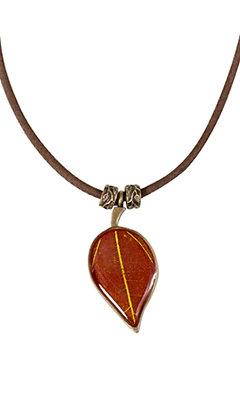 Shari Dixon Yellow Winter Sweet  on Rhubarb Leaf Pendant Suede Necklace