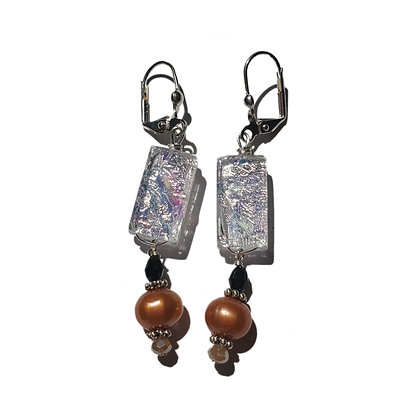 Iridescent Dichroic Glass Earrings