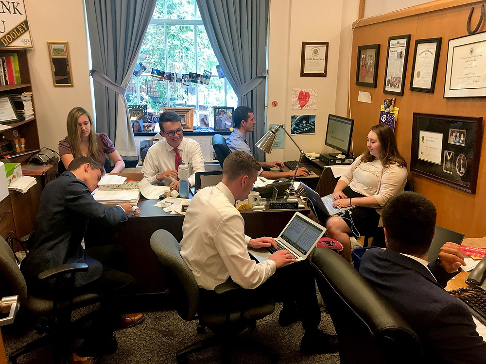 Team Dooley hard at work at the State House