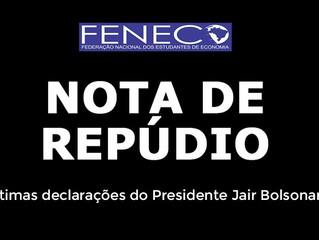 NOTA DE REPÚDIO - Declarações do Presidente Jair Bolsonaro a respeito da pandemia