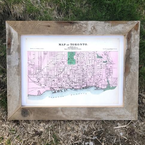 Rustic barn framed map of Toronto