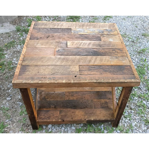 Rustic barn board end table