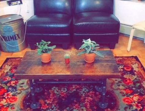 Condo sized barn board coffee table