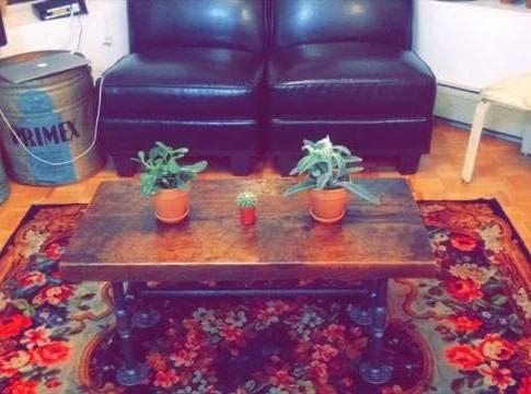 Condo sized barn board coffee table
