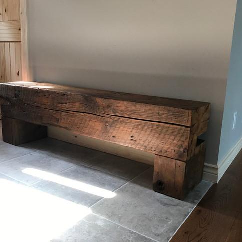 Rustic barn beam bench