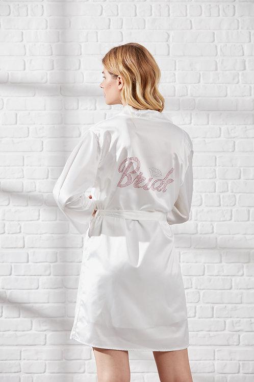 Kadın Beyaz Saten Bride Sabahlık Gelin Sabahlığı RI1000