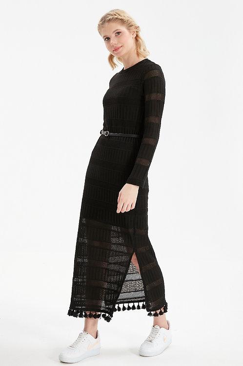 Kadın Siyah Uzun Etekleri Püsküllü Triko Elbise