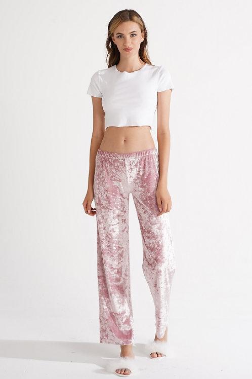 Kadın Pudra Kadife Pijama Alt K2002