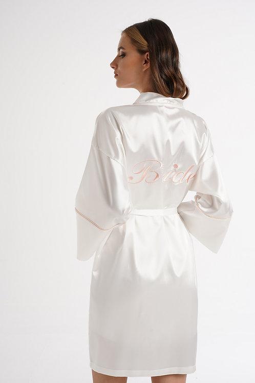 Magic Form / Kadın Ekru Nakışlı Bride Sabahlık Gelin Sabahlığı 40528