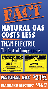 FACT: Natural Gas Costs Less Than Electric