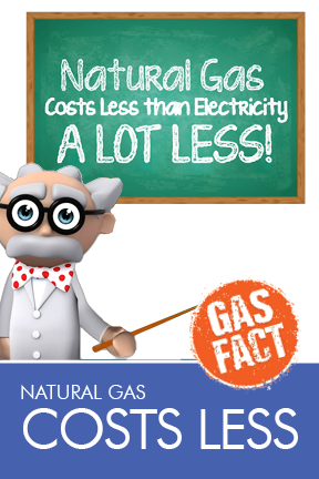 Natural gas costs less