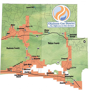 Map of Okaloosa Gas Service Territory