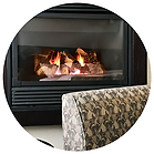 Natural gas fireplace and logs