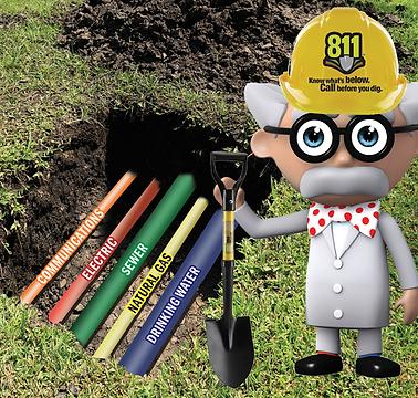 Professor Green standing with shovel over underground pipelines