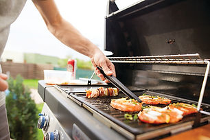 Grilling on a natural gas grill