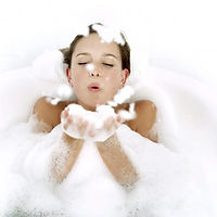 Woman enjoying warm bubble bath