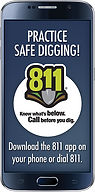Cell phone with Sunshine 811 app installed