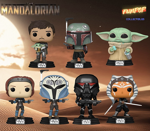 PREORDER Funko Pop! Star Wars The Mandalorian: Bundle of 7 WITH CHASE