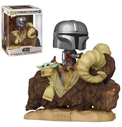 Funko Pop! Star Wars The Mandalorian: Mando on Bantha with Child in Bag Deluxe