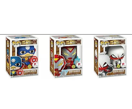 Funko Pop! Marvel Infinity Warps: Set of 3 Bundle GITDExclusive #679 #680 #681