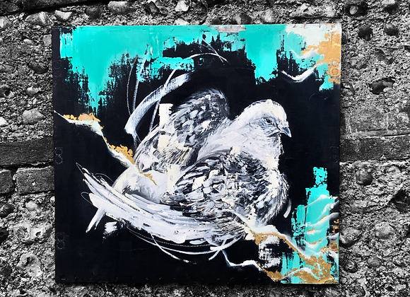 Pigeon I (2020) Oil, Acrylic and Gold Leaf on Plywood.