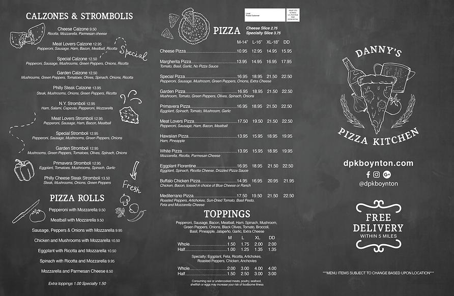 Danny's Pizza Kitchen Menu Back