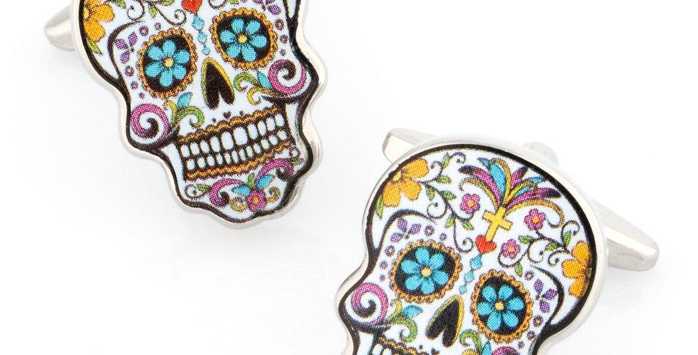 Flower Skull Calavera Cufflinks