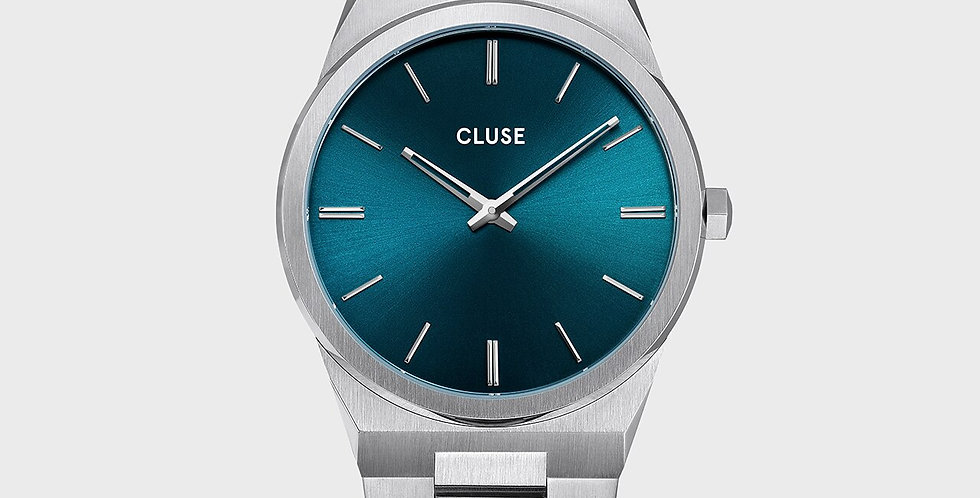 Cluse Mens - Vigoureux Silver Petrol Blue/Silver Link