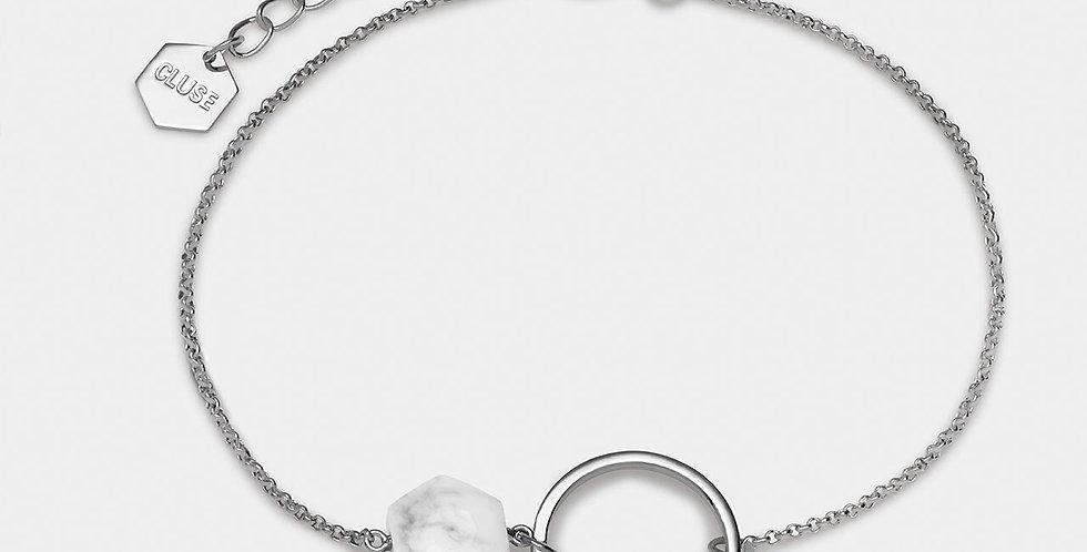 Cluse - Idylle Silver Open Circle Marble Hexagon Chain Bracelet
