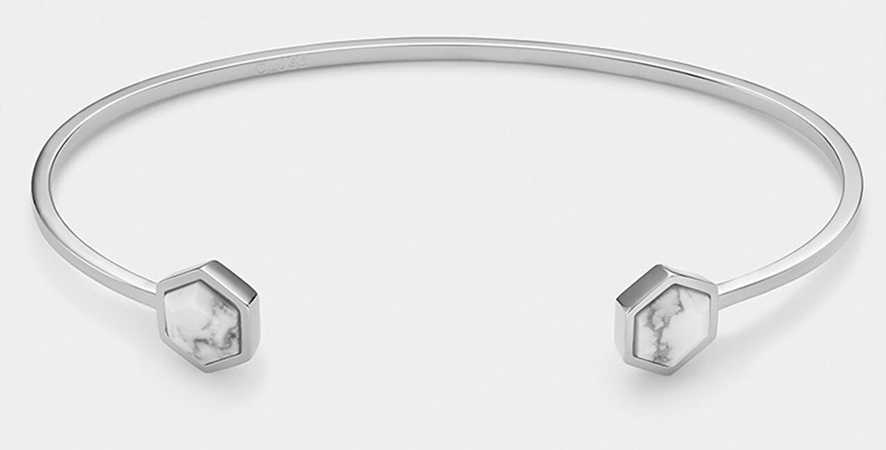 Cluse - Idylle Silver Marble Hexagons Open Cuff