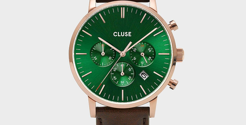 Cluse Mens - Aravis Chronograph Rose Gold Green/Dark Brown Leather Watch