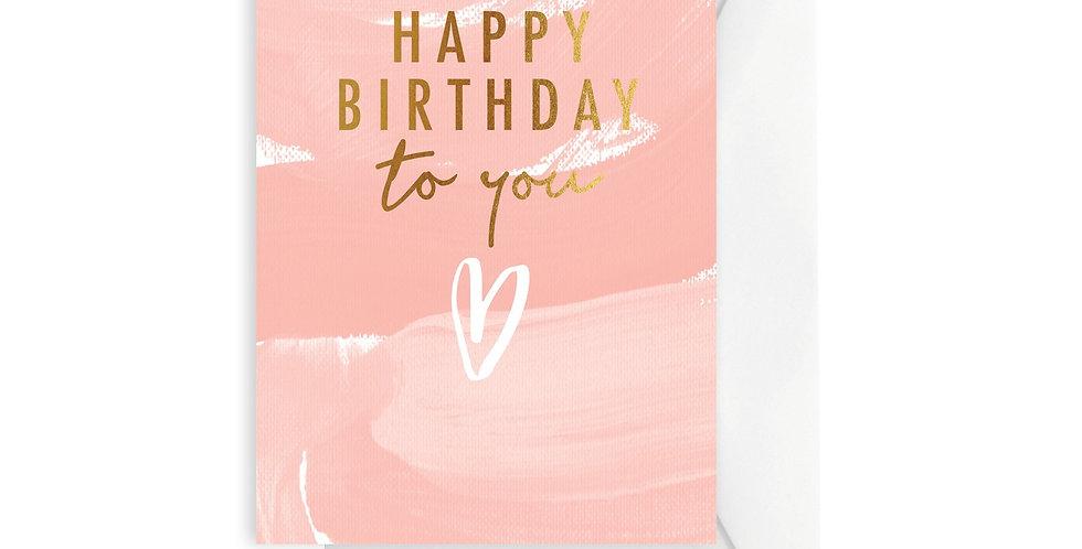 Card - Brushy Peach Happy Birthday to You