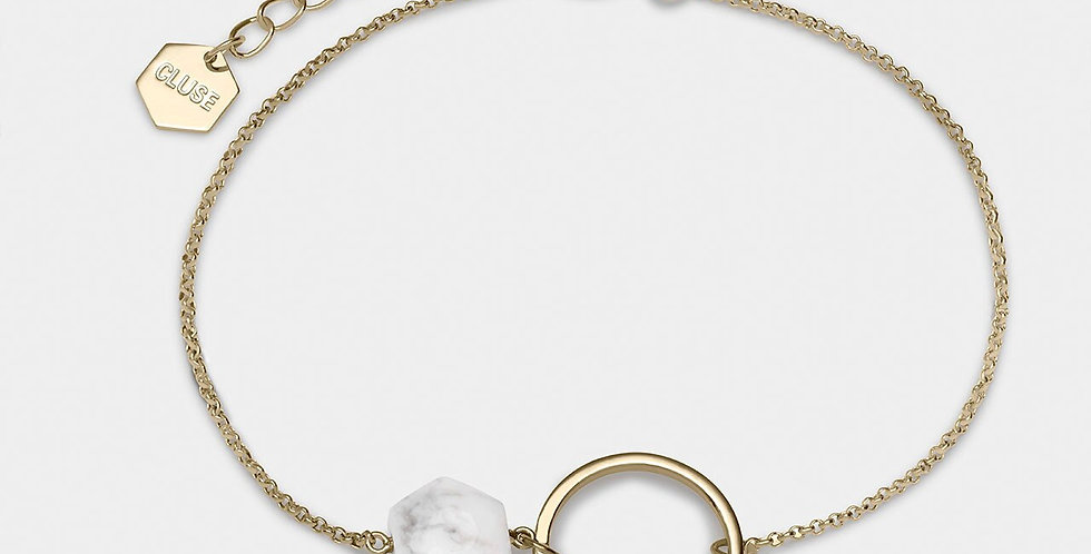 Cluse - Idylle Gold Open Circle Marble Hexagon Chain Bracelet