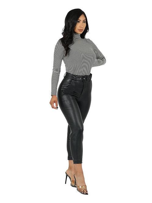 Seville Faux Leather Pants (Black)