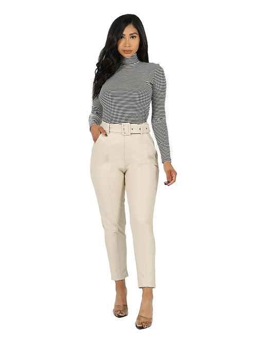Seville Faux Leather Pants (Bone)