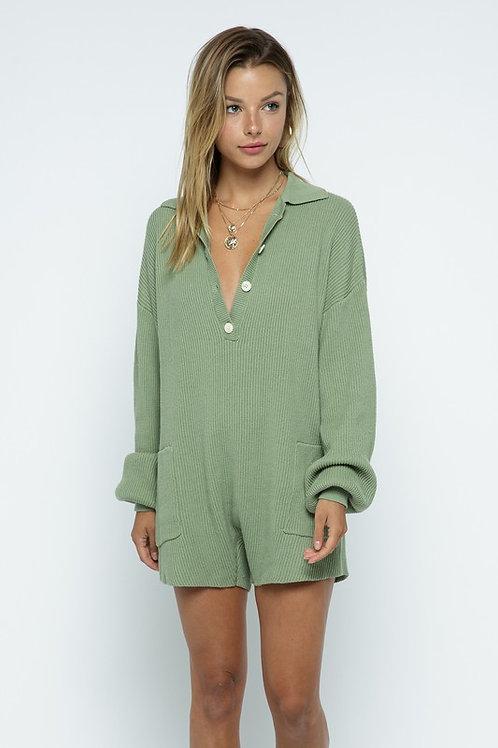 Rainier Sweater Romper (Olive)