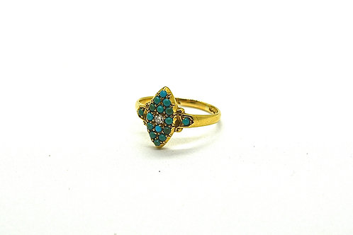 Turquoise and Diamond Marquise / Navette Ring, Birmingham 1899