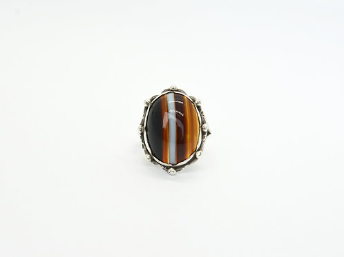 Victorian Banded Agate Silver Ring