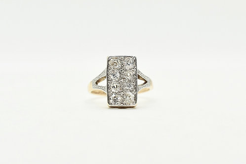 Original Art Deco Diamond Plaque Ring