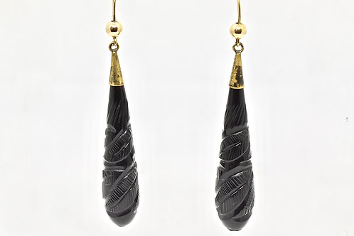 Carved French Jet Victorian Earrings