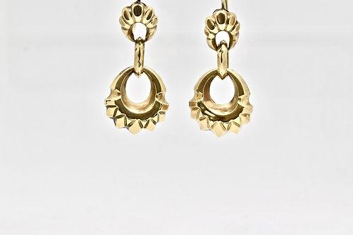 Victorian Gold Cased Hoop Drop Earrings