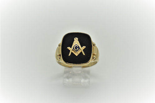 Gold Onyx Masonic Ring